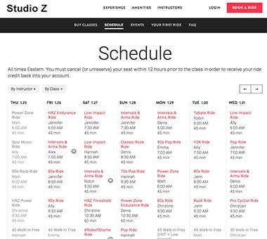 indoor cycling schedule panel