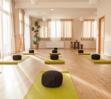 meditation studio with 8 cushions